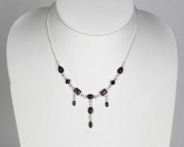 Srebrna ogrlica 1001 NOČ - ametist