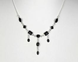 Srebrna ogrlica 1001 NOČ - oniks