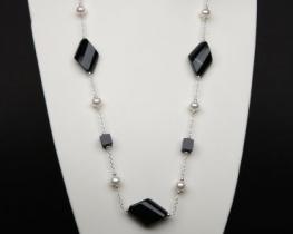 Srebrna ogrlica biser+oniks