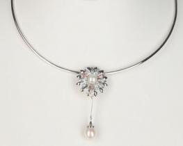 Srebrna ogrlica biserni CVET