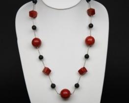 Srebrna ogrlica oniks+korala
