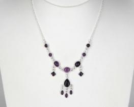 Srebrna ogrlica Šeherezada - ametist in roževec