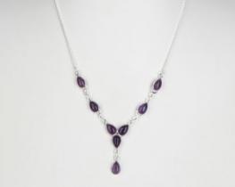 Srebrna ogrlica Solze - ametist