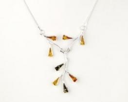 Srebrna ogrlica z jantarjem ELVIRA