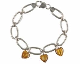 Srebrna zapestnica z zlatimi  MURANO srčki