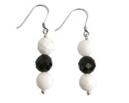Srebrni uhani - bel+črn oniks