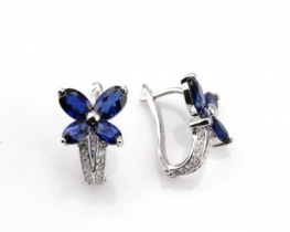 Srebrni uhani BLUE PAPILIO - modri safir in cirkoni