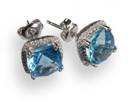 Srebrni uhani LOVE BLUE z modrim topazom in cirkoni Q8