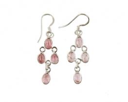 Srebrni uhani - roza turmalin