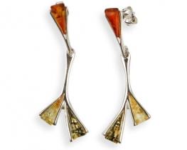 Srebrni uhani z jantarjem ELVIRA