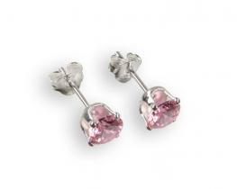 Srebrni uhani z roza cirkonom