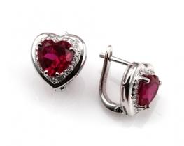 Uhani LOVE HEART z rubinom