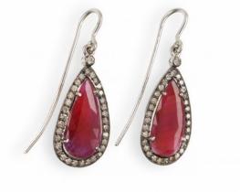 Uhani z rubini in diamanti TANGANYKA