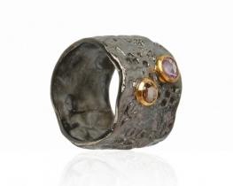 Unikaten prstan MAGMA - diamant in turmalin