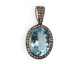 Viktorijanski obesek SKY BLUE z modrim topazom in diamanti