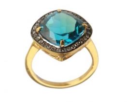 Viktorijanski prstan LONDON BLUE z modrim topazom