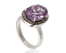 Srebrni prstan ametist VIOLETA z diamanti / topazi