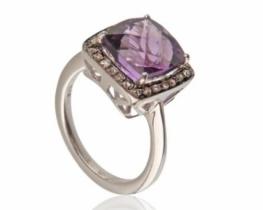 Viktorijanski prstan VIOLETA - ametist z diamanti