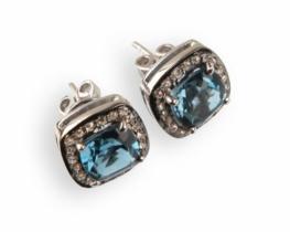 Viktorijanski uhani LOVE BLUE z diamanti