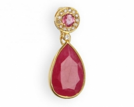 Obesek PINK STAR - rubin, roza safir in diamanti