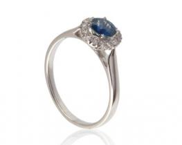 Zlat prstan MODRA PRINCESA - modri safir z diamanti