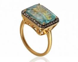Zlat viktorijanski prstan AQUA BLUE
