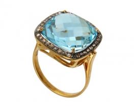 Zlat viktorijanski prstan LOVE PILLOW z modrim topazom
