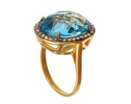 Zlat prstan modri topaz 12 x 16 mm z diamanti