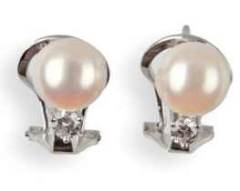 Zlati biserni uhani ORIANA z diamanti