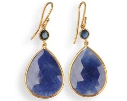 Zlati uhani BLUE VELVET - modri safir 16 x 20 mm