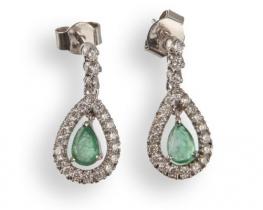 Zlati uhani GARCIA s smaragdi in diamanti