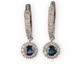 Zlati uhani GRACE - modri safir z diamanti