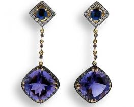 Zlati uhani DARLING- Ametist, diamanti in Kianit