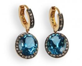 Zlati viktorijanski uhani BLUE RAY